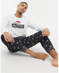 Hollister Gift Set Loungewear jogger And Long Sleeve T-shirt With Christmas Logo - Multicolor
