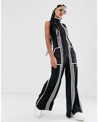 adidas Originals X Ji Won Choi Mixed Stripe Jumpsuit In Black