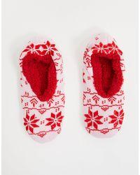 Brave Soul Красные Носки-слиперы С Принтом В Виде Снежинок -многоцветный - Красный