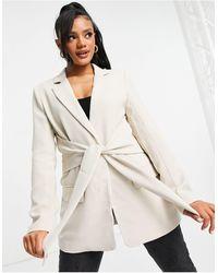 NA-KD Tie Front Blazer - White