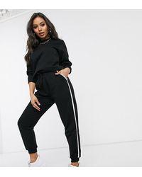 ASOS Asos Design Petite - Trainingspak Sweater / Basic joggingbroek Met Strik En Contrasterend Stiksel Van Organisch Katoen - Zwart