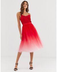 Chi Chi London Falda midi - Rojo