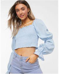 Monki Sookie Cotton Shirred Crop Top - Blue