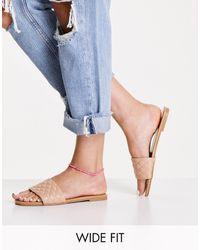 New Look Бежевые Стеганые Сандалии-мюли Wide Fit-коричневый Цвет