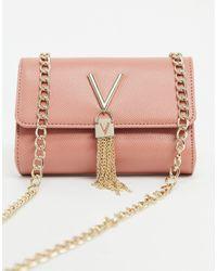 Valentino By Mario Valentino Divina Foldover Tassel Detail Cross Body Bag - Pink