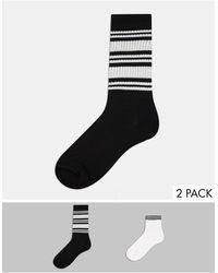 ASOS 2 Pack Rib Socks With Stripe - Multicolour