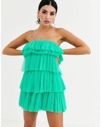 LACE & BEADS Зеленое Платье Мини С Ярусными Оборками -зеленый