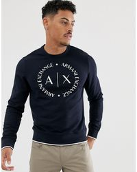 Armani Exchange Sudadera azul marino con cuello redondo y logo circular