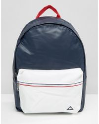Le Coq Sportif Navy Leather Look Backpack With Tricolore Trim - Blue