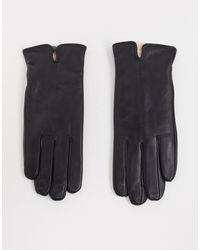 Accessorize Черные Кожаные Перчатки С Подкладкой Из Искусственного Меха -черный