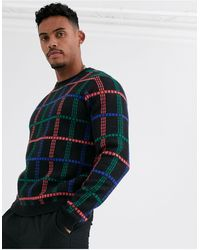 ASOS Oversized Embroidered Check Jumper - Black