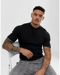 ASOS Knitted Muscle Fit Polo Shirt - Black