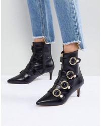 Carvela Kurt Geiger | Sparky Pearl Detail Leather Kitten Heel Ankle Boots | Lyst