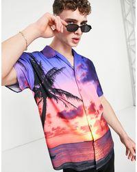 Mennace Camisa con solapas sunset sateen - Azul