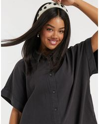 Monki Molly Organic Cotton Denim Shirt Dress - Black