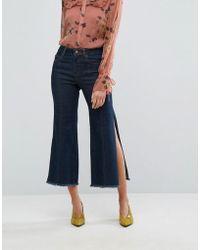Gestuz - Wide Leg Side Slit Jeans - Lyst