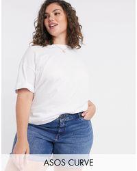ASOS Camiseta blanca holgada con manga remangada - Blanco