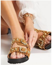 Schuh Tatyana Studded Sandals - Brown