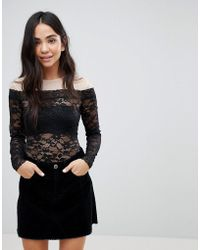 Monki - Mesh And Lace Body - Lyst