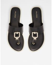 ALDO Tatyx Hardware Toe Post Flat Sandals - Black