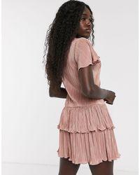 Miss Selfridge Plisse Mini Dress With Frills - Pink