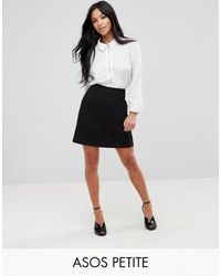 ASOS Asos Design Petite Tailored A-line Mini Skirt - Black