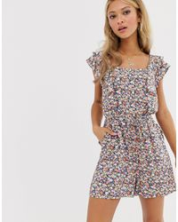 Oasis Playsuit With Square Neck - Multicolour