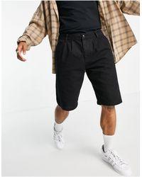 TOPMAN Pleat Front Denim Shorts - Black