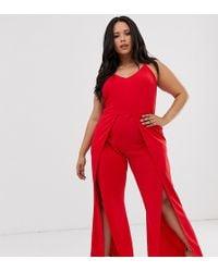 Simply Be - Split Leg Jumpsuit In Red - Lyst