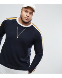 ASOS DESIGN - Asos Plus Fluffy Jumper With Contrast Stripes In Navy - Lyst