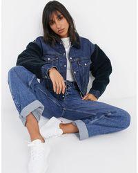 Levi's Джинсовая Куртка Со Вставками Из Искусственной Цигейки -синий
