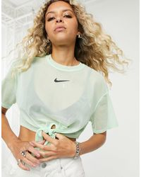 Nike T-shirt corta allacciata sul davanti - Verde
