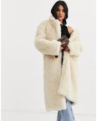 ASOS Faux Fur Teddy Longline Coat In Cream - Natural