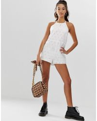 ASOS - Palm Broderie Playsuit - Lyst