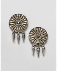 ASOS - Engraved Disc And Spike Earrings - Lyst