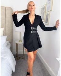 4th & Reckless 4th + Reckless Buckle Detail Blazer Dress - Black