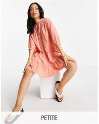 New Look - Платье Мини Светло-кораллового Цвета С Завязкой На Воротнике И Присборенной Юбкой -розовый Цвет - Lyst