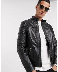 Barneys Originals Real Leather 4 Pocket Biker Jacket - Black