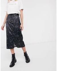 Daisy Street Button Front Midi Skirt - Black