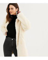 ASOS Asos Design Tall Faux Fur Button Through Coat - Natural