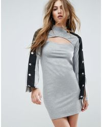 ASOS - Asos Mini Dress With Popper Sleeve And Cut Out - Lyst