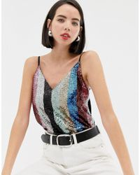 Warehouse - Cami Top In Rainbow Sequin - Lyst