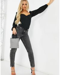 4th & Reckless Long Sleeve Corset Top With Puff Shoulders - Black