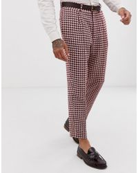 ASOS Wedding Tapered Suit Pants With Large Houndstooth In Burgundy Wool Blend