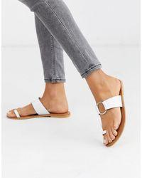 ASOS Feline Leather Toe Loop Sandal - White
