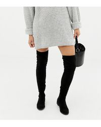 ASOS - Asos Design Wide Fit Tall Kaska Flat Studded Over The Knee Boots - Lyst