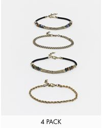 ASOS Bracelet Pack With Moss Agate Stones And Chains - Multicolour