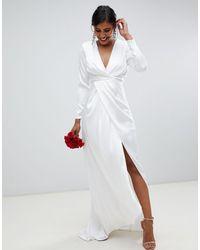 ASOS – Brautkleid aus Satin mit tiefem Ausschnitt und gewickelter Vorderseite - Weiß