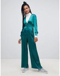 db0ea7941b1 New Look Petite Pale Blue Premium Lace Wrap Front Jumpsuit in Blue ...