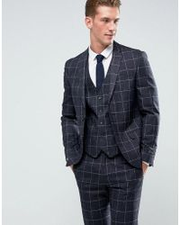 River Island Skinny Fit Check Suit Jacket In Navy - Blue